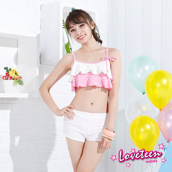 夏之戀LOVETEEN 粉紅白色圓點荷葉比基尼泳裝