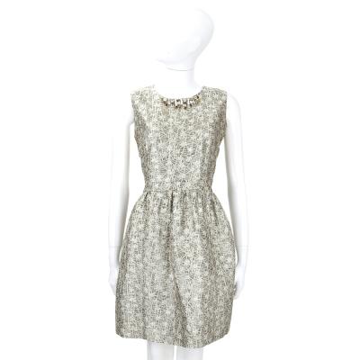 BLUGIRL 米色鑽領飾刺繡花卉無袖洋裝