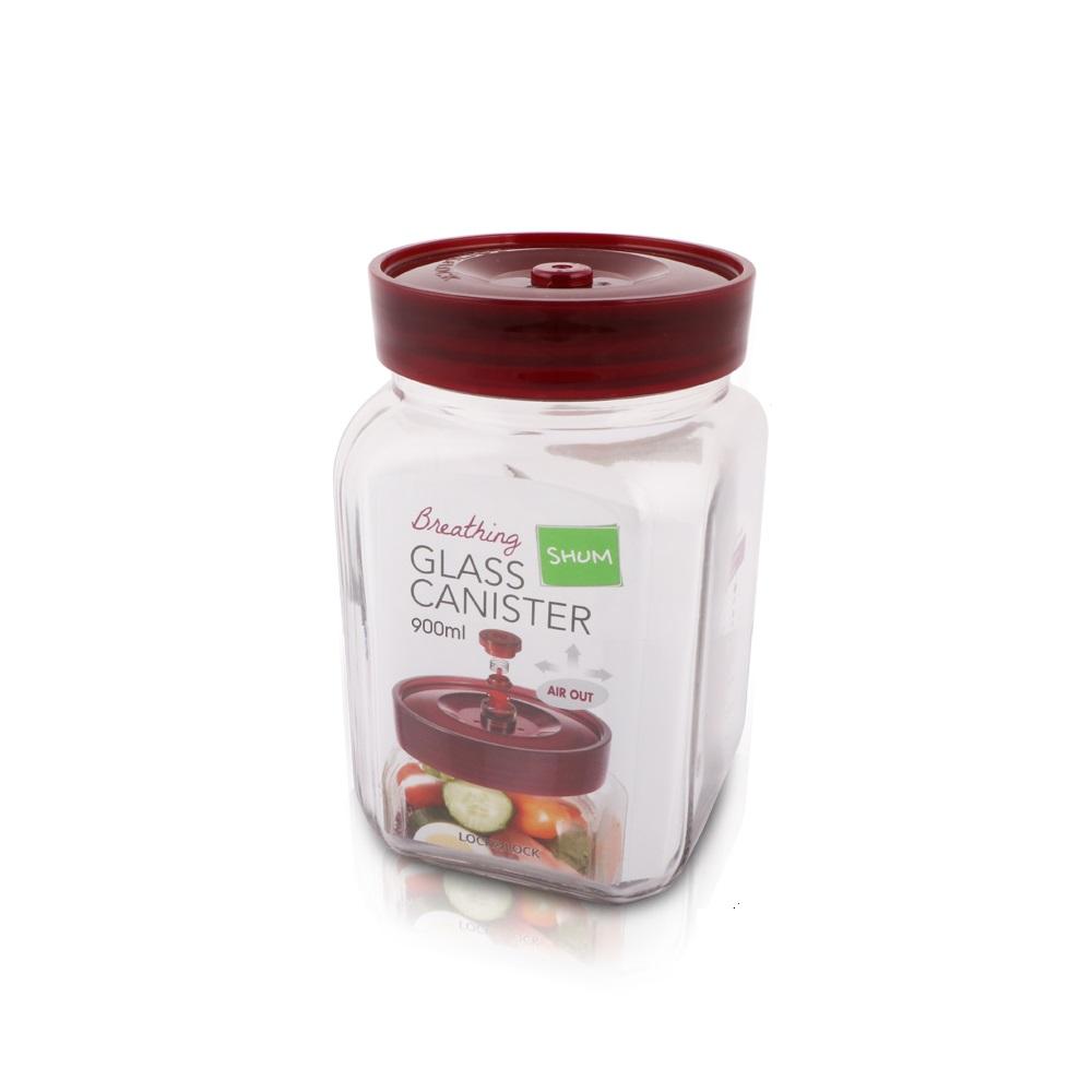 樂扣樂扣 單向排氣閥玻璃密封罐 方罐900ML(8H)