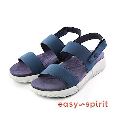 Easy Spirit--一字後拉帶厚底涼鞋-個性藍