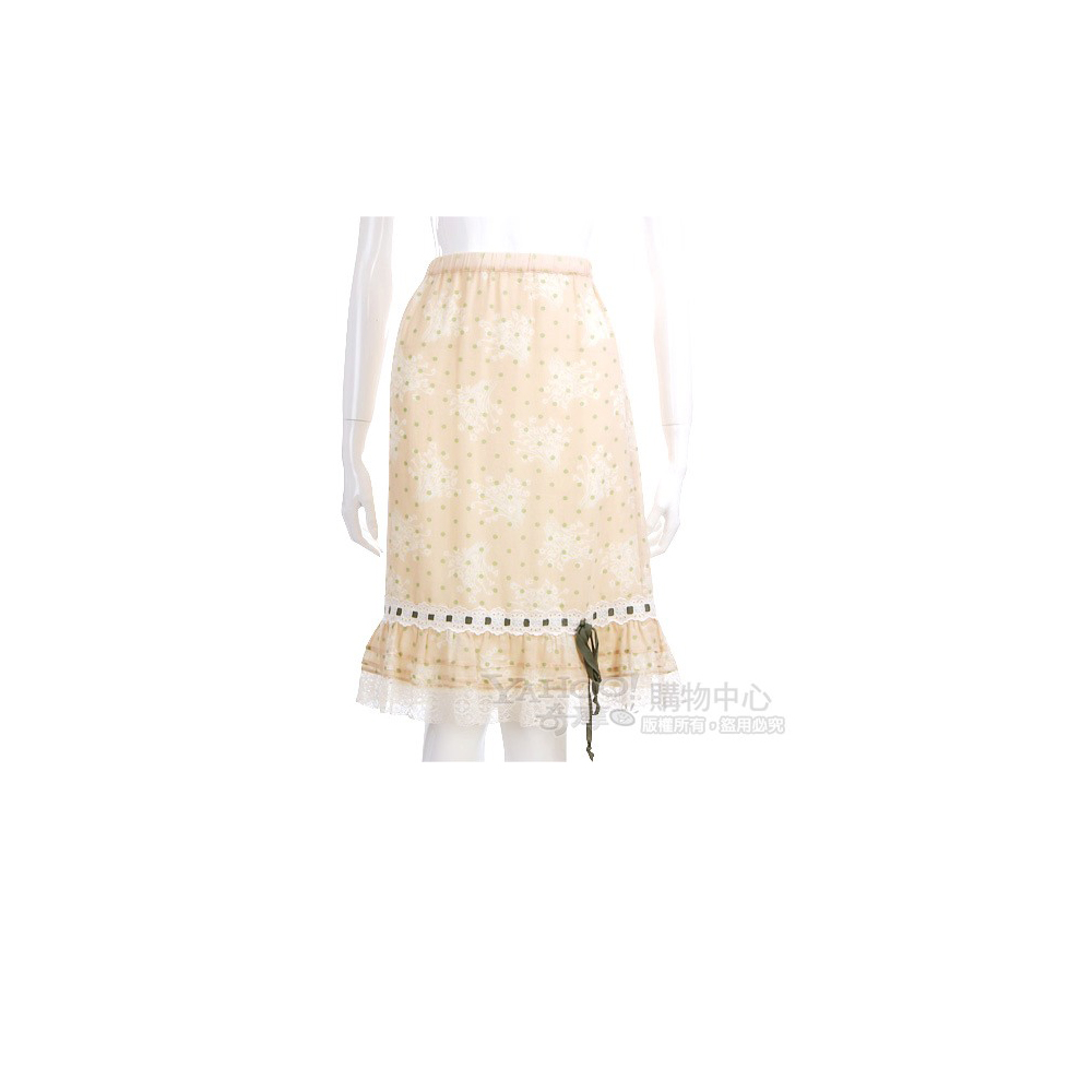 VALENTINO 米黃色點點蕾絲邊及膝裙