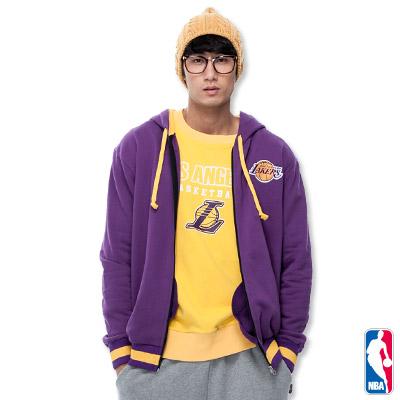 NBA-洛杉磯湖人隊繡花連帽外套-紫(男)