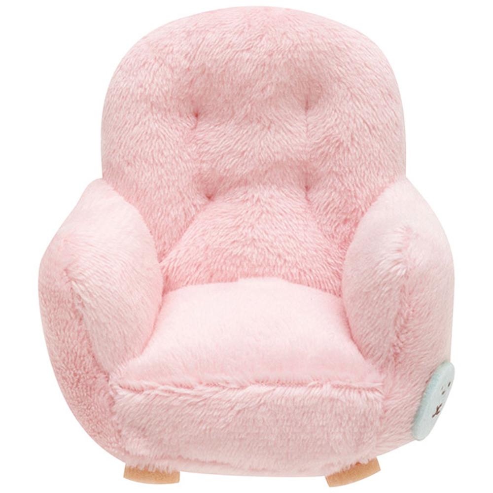 角落掌心沙包公仔的小家具。單人沙發。粉  San-X