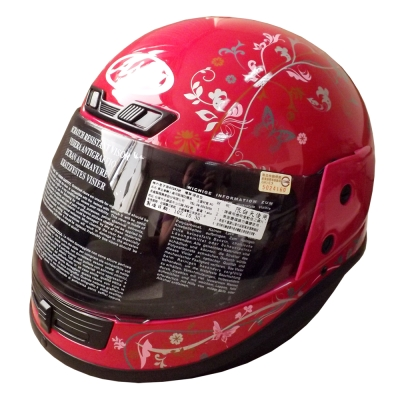 ASIA Breeze A801 花紋全罩式安全帽 桃紅