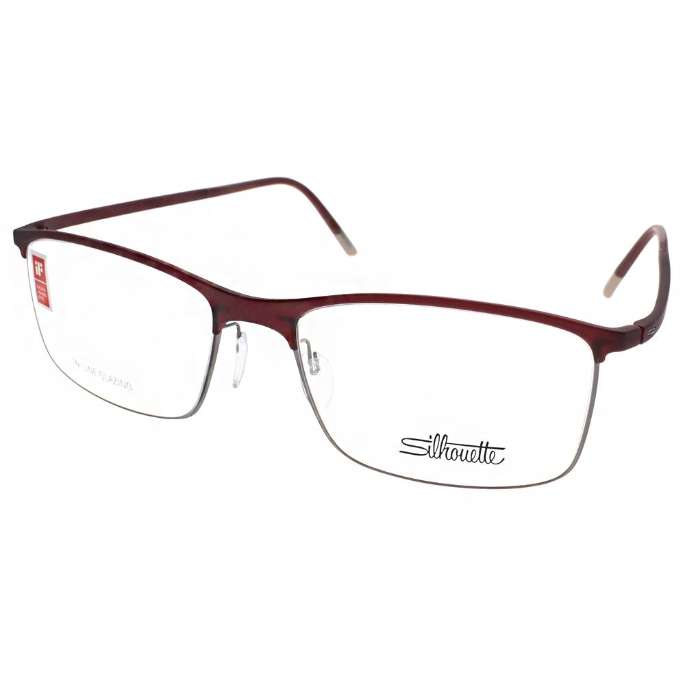 Silhouette詩樂眼鏡 質感方框/紅棕-銀#ST2904 C6052