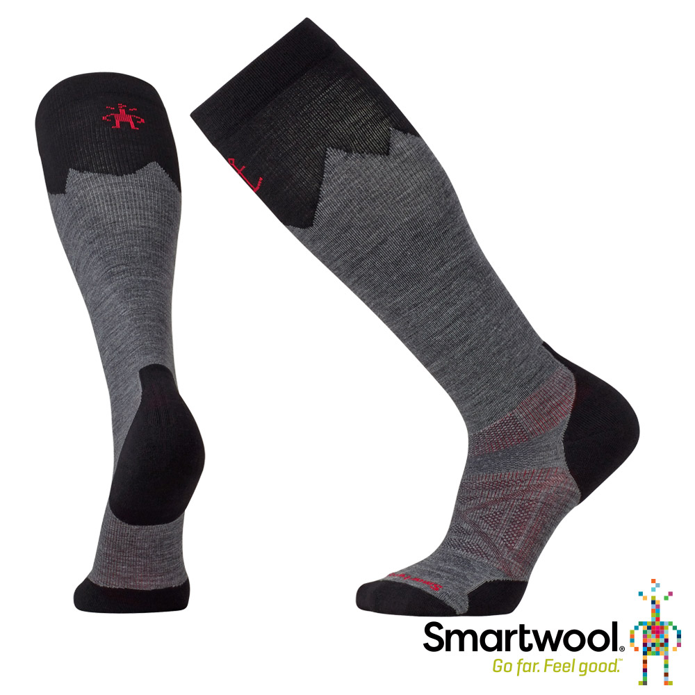 SmartWool 羊毛襪 PhD戶外登山家高筒襪 中性灰