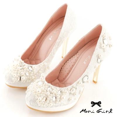 Mori girl璀璨奪目-寶石珍珠蕾絲婚鞋 白