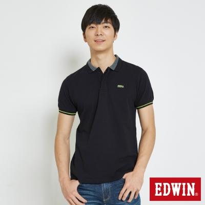 EDWIN 配色領簡約POLO衫-男-黑色
