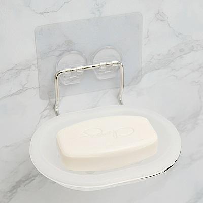 完美主義 304不鏽鋼肥皂架/可拆洗/霧面無痕貼-13.5x11.7x6
