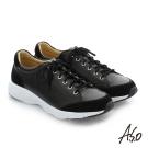 A.S.O 3D超動能 全真皮綁帶奈米機能休閒鞋 黑色