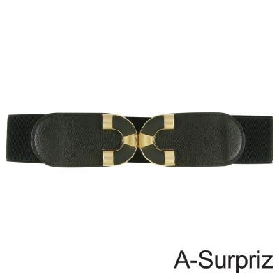 A-Surpriz 亮眼雙C金屬扣環彈性腰帶(黑)