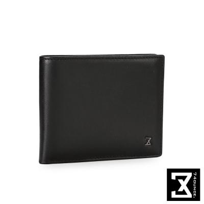 74盎司 Plain 系列平紋真皮短夾[N-465]黑