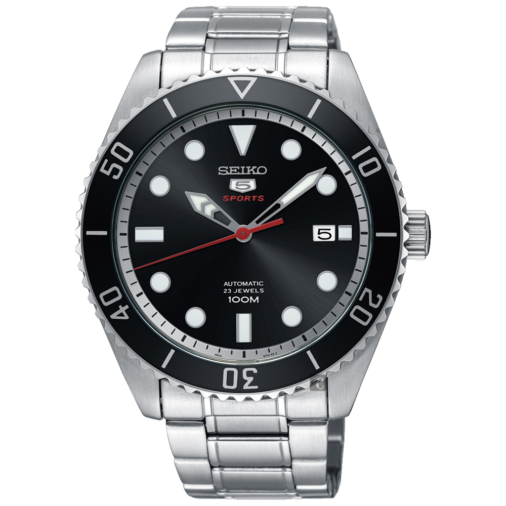 SEIKO精工 5號23石復刻盾牌機械錶(SRPB91J1)-黑x銀/44mm