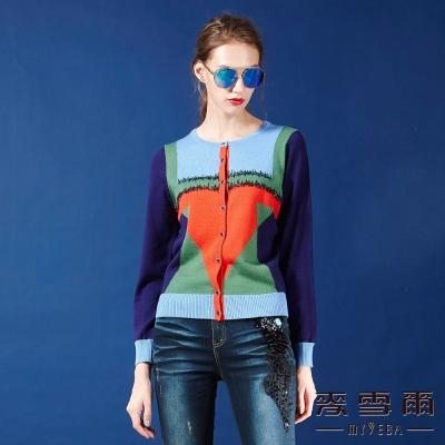麥雪爾 亮圈幾何圖騰羊毛針織衫-紫