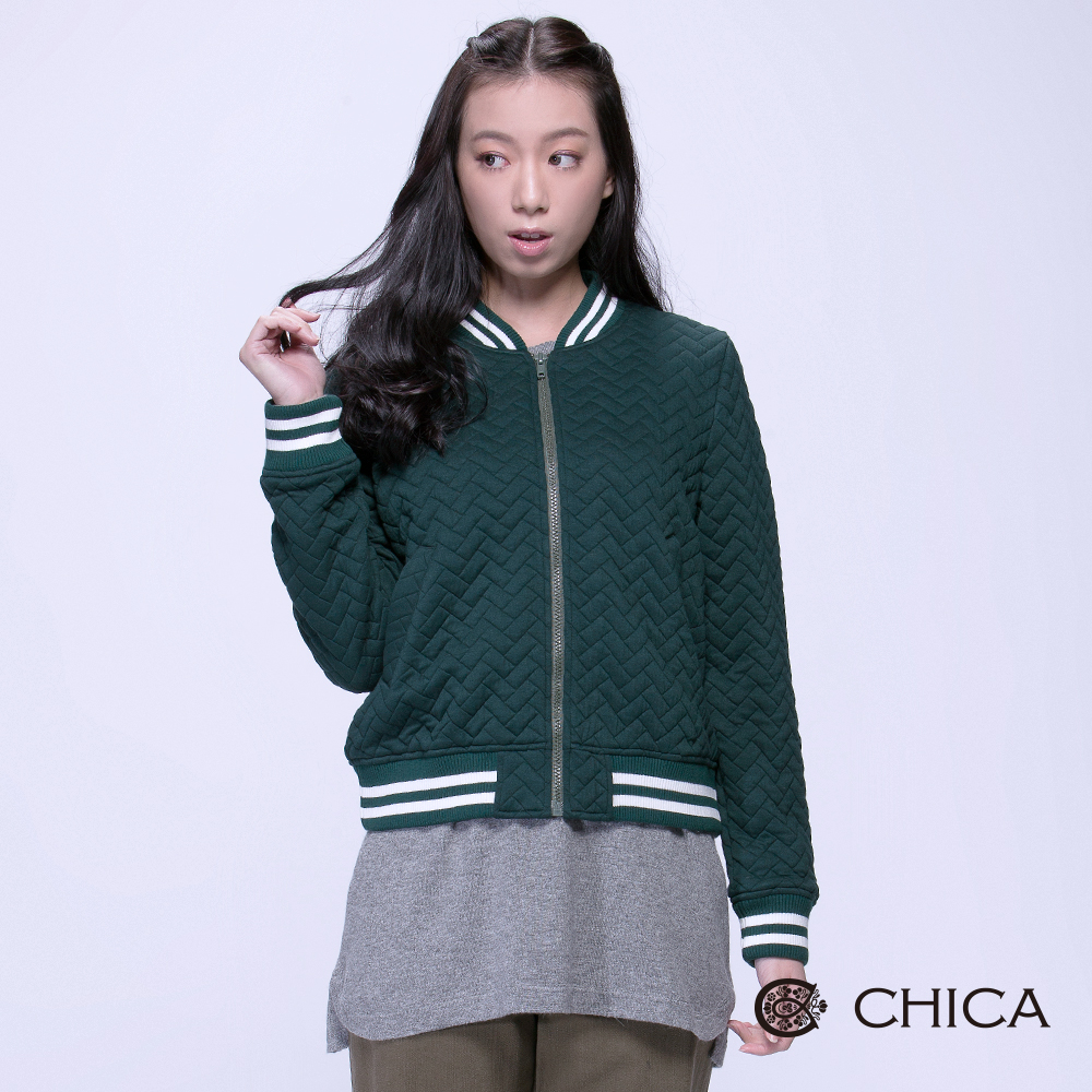 CHICA英倫學院編織感壓紋布勞森外套3色
