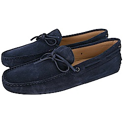 TOD'S Gommino 麂皮綁帶休閒豆豆鞋(男鞋/深藍色)