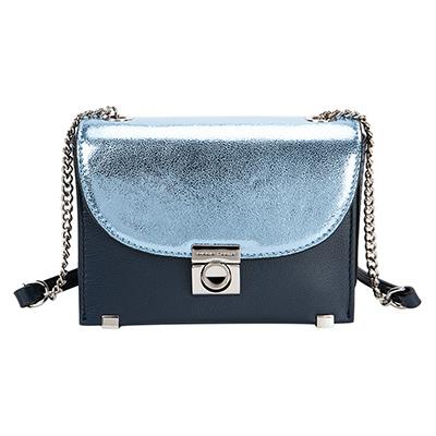 MARIA CARLA 硬挺皮革撞色方型側背包  小生活系列(波光藍)
