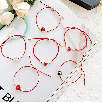 HERA 赫拉 本命年紅繩水鑽可拉伸紅繩手鏈(6款)