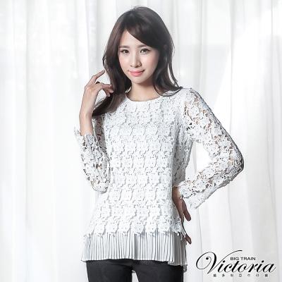 Victoria 假兩件式刺繡蕾絲九分袖T-女-白色