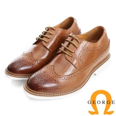 GEORGE 喬治-內增高系列 牛皮雕花牛津鞋皮鞋(男)-棕色