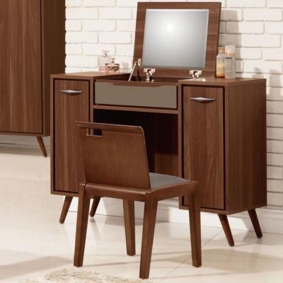 品家居 瓊斯3.3尺橡木紋掀式化妝鏡台含椅-97.3x40x79.5cm-免組
