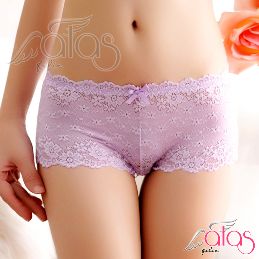 平口內褲 綺麗光影法式蕾絲性感內褲 (紫色) alas