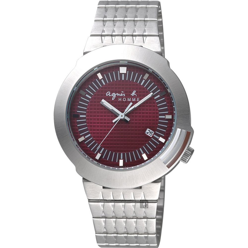 agnes b. 原創法國經典手錶(BF6314P1)-酒紅x銀/40mm