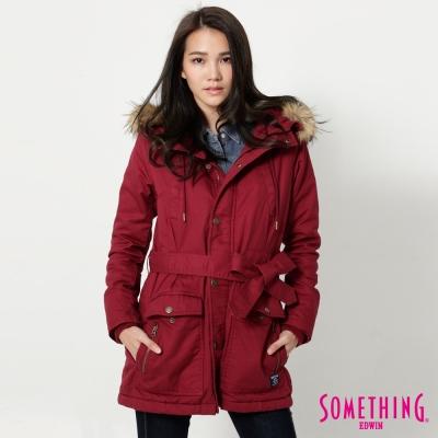 SOMETHING-時尚亮麗防寒外套-女-暗紅