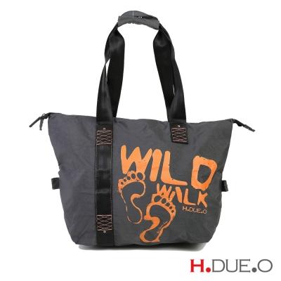 【義大利H.DUE.O】野外足跡手提肩背包(小) - 沙漠橘