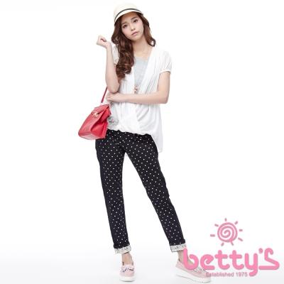 betty-s貝蒂思-褲管反褶蕾絲愛心面料長褲-黑色