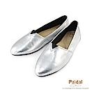 Paidal金屬系漆亮皮蛇紋時尚尖頭鞋-亮麗銀
