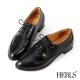HERLS-蜥蝪紋拼接尖頭牛津鞋-黑色