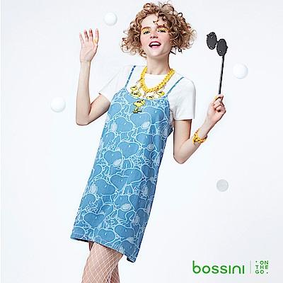 bossini女裝-史努比系列兩件式吊帶連身裙淡靛藍