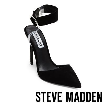 STEVE MADDEN-DIVA 踝帶尖頭高跟鞋-絨黑