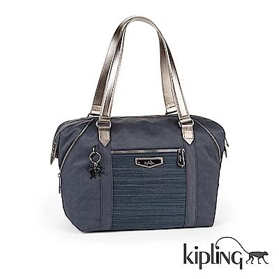 Kipling 手提包 紋路質感藍-大