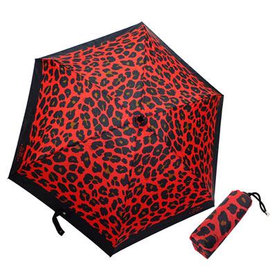 COACH-紅黑豹紋圖繪輕量攜帶型晴雨傘