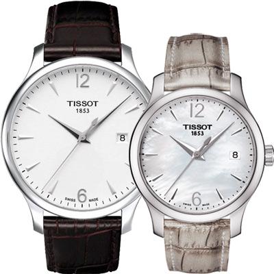 TISSOT 天梭 Tradition 大三針石英對錶-42+33mm