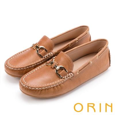 ORIN 復古樂活主義 金屬飾釦牛皮帆船鞋-棕色