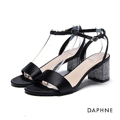 達芙妮DAPHNE 涼鞋-水鑽粗跟緞面一字涼鞋-黑