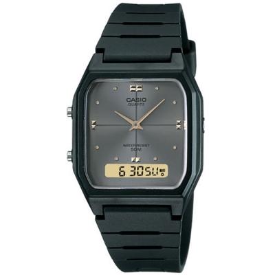 CASIO 經典復古風格商務雙顯錶(AW-48HE-8A)-黑X灰面/34mm