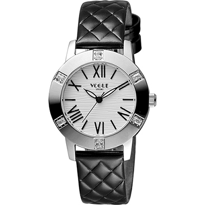 VOGUE 時尚菱格紋羅馬腕錶-白x黑/34mm