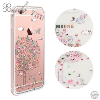 apbs iPhone6s/6 PLUS 施華洛世奇彩鑽金屬框手機殼-玫瑰金相愛