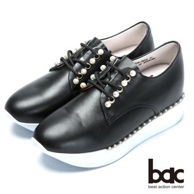 bac時尚樂活 珍珠綁帶內增高休閒鞋-黑