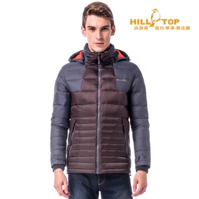 【hilltop山頂鳥】男款超撥水蓄熱羽絨外套F22MW5咖啡/黑