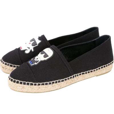 KARL LAGERFELD K/IKONIK 橡膠補丁貼飾帆布草編鞋(黑色)