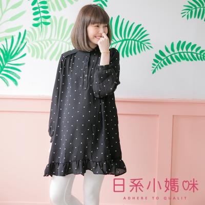日系小媽咪孕婦裝-滿版點點荷葉裙襬雪紡洋裝-共二色