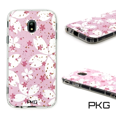 PKG SAMSUNG J7PRO 彩繪空壓氣囊保護殼-浮雕彩繪-粉紅花瓣