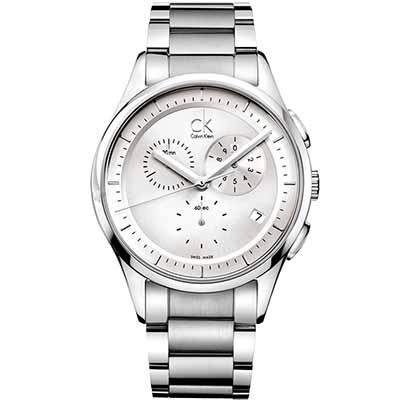 cK Basic 經典三眼計時腕錶-白/43mm
