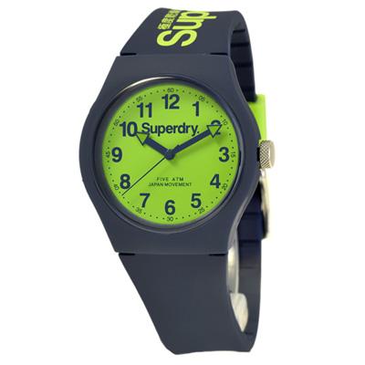 Superdry 極度乾燥 多彩 矽膠 運動腕錶-藍帶/綠面/37mm