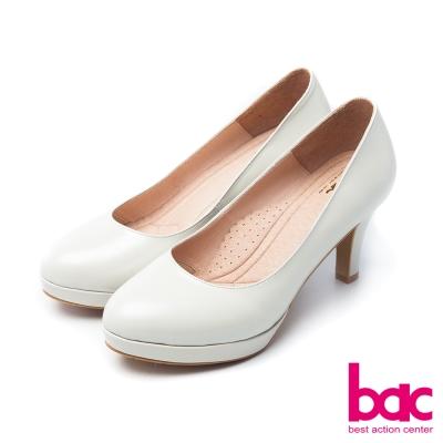 bac浪漫美學柔美色調防水台微尖頭高跟鞋珠光米